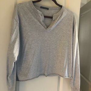 Brandy Melville Gray Button Longsleeve